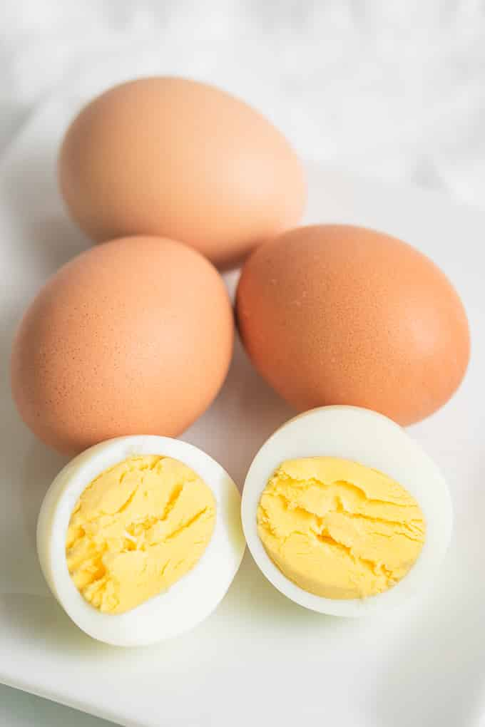 hard boiled eggs on a plate