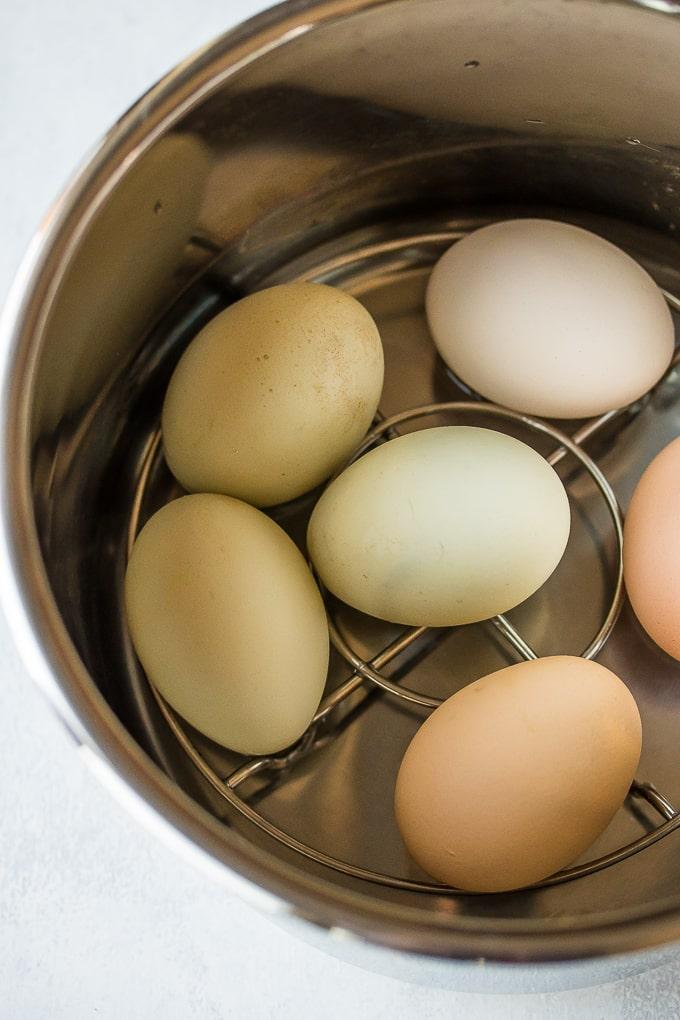 eggs in 6-quart Instant Pot on top of trivet