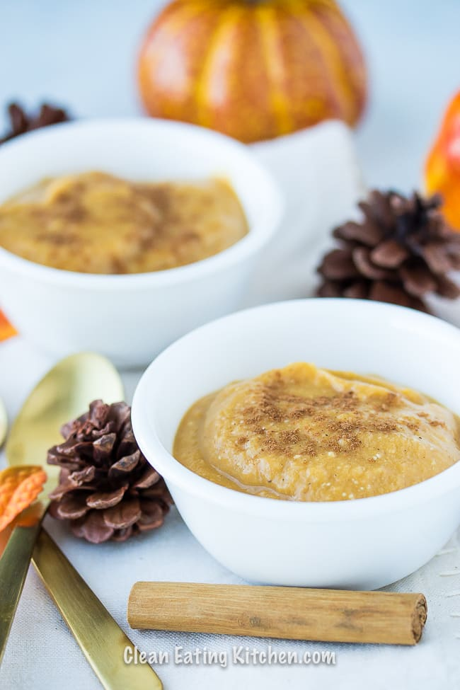 instant pot pumpkin custard in small white bowls