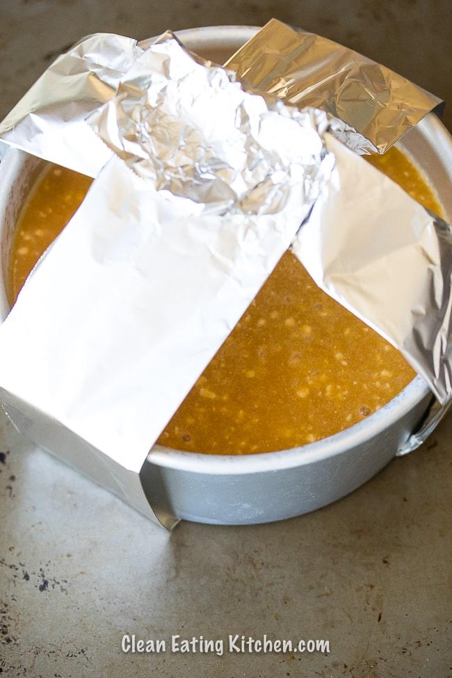 instant pot pumpkin custard in cake pan with aluminum handles