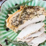 instant pot turkey breast on a platter sliced