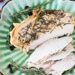 instant pot turkey breast on a platter sliced