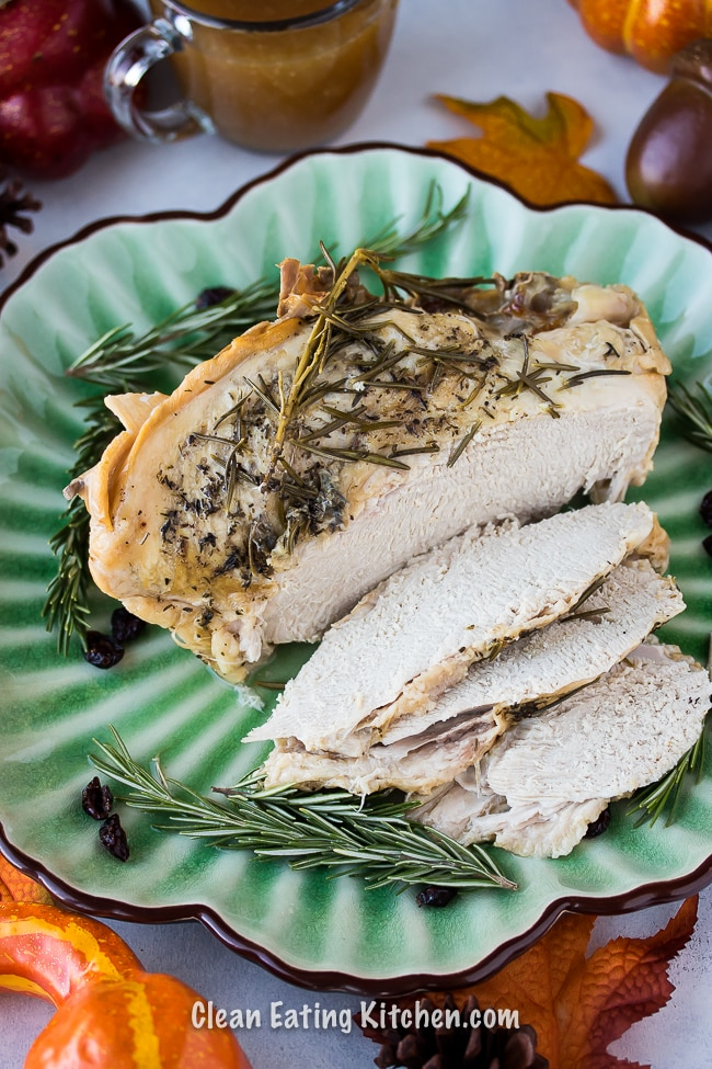 instant pot turkey breast on a platter with slices