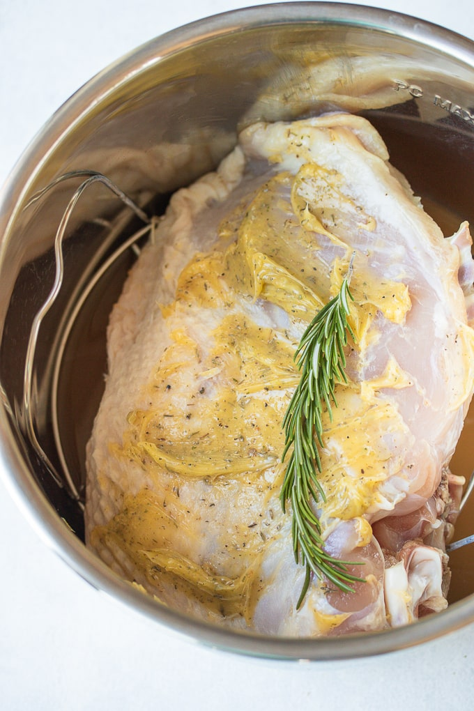 turkey breast in instant pot ready to be cooked