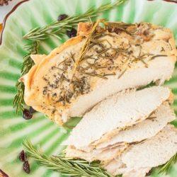 sliced turkey on a plate ready to serve