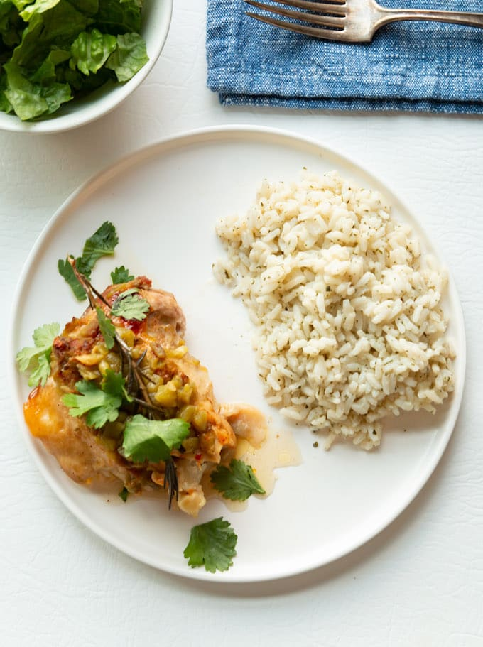 paleo chicken thighs with white rice