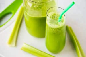 celery juice with celery stalks