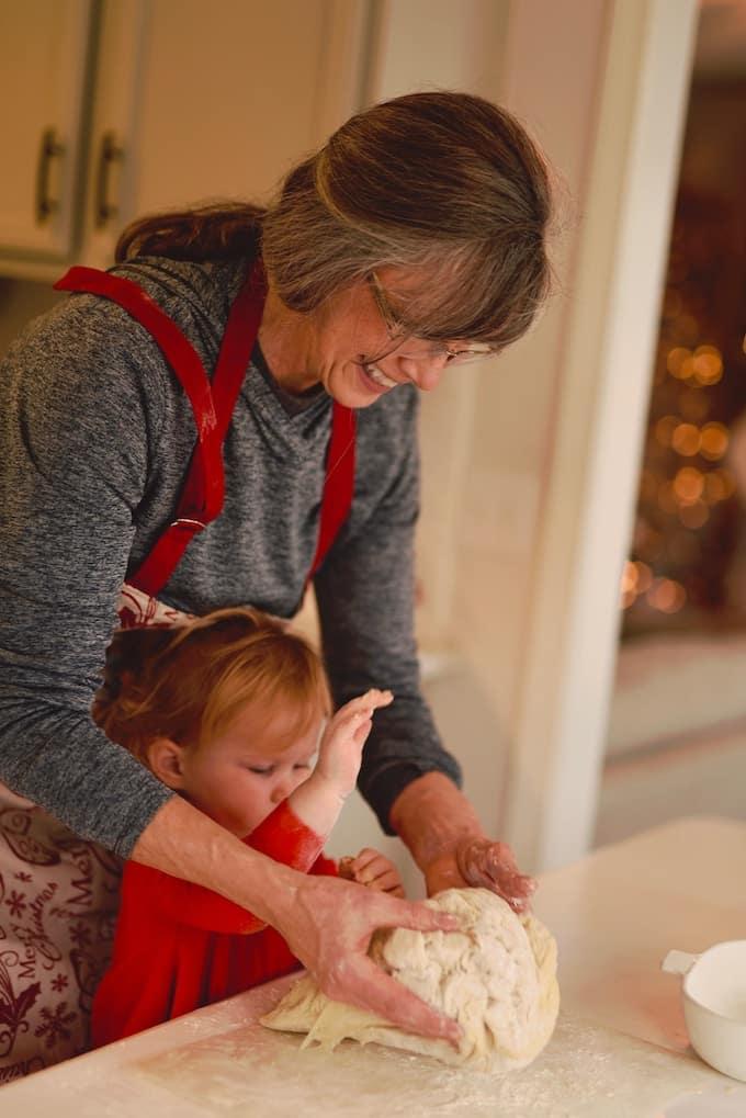 grandma helping grandkid