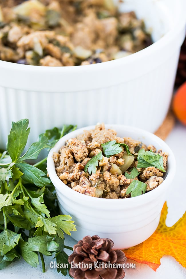 instant pot stuffing glutenfree paleo with parsley on top