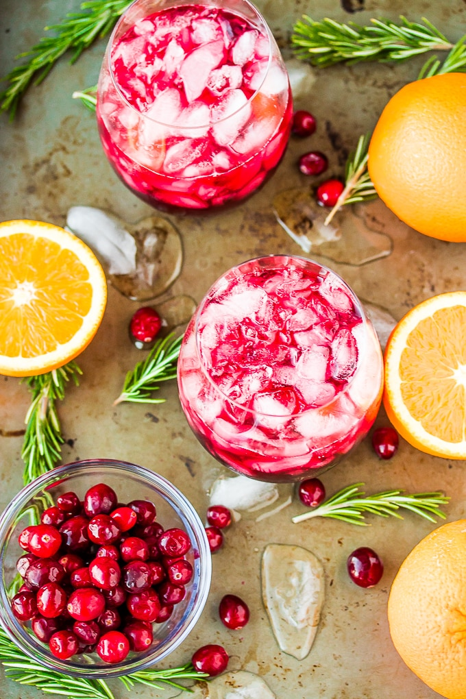 pomegranate citrus mocktail with cranberries
