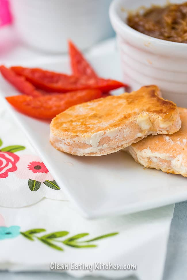 salmon bites happy fish with pb dipping sauce and sliced red bell peppers