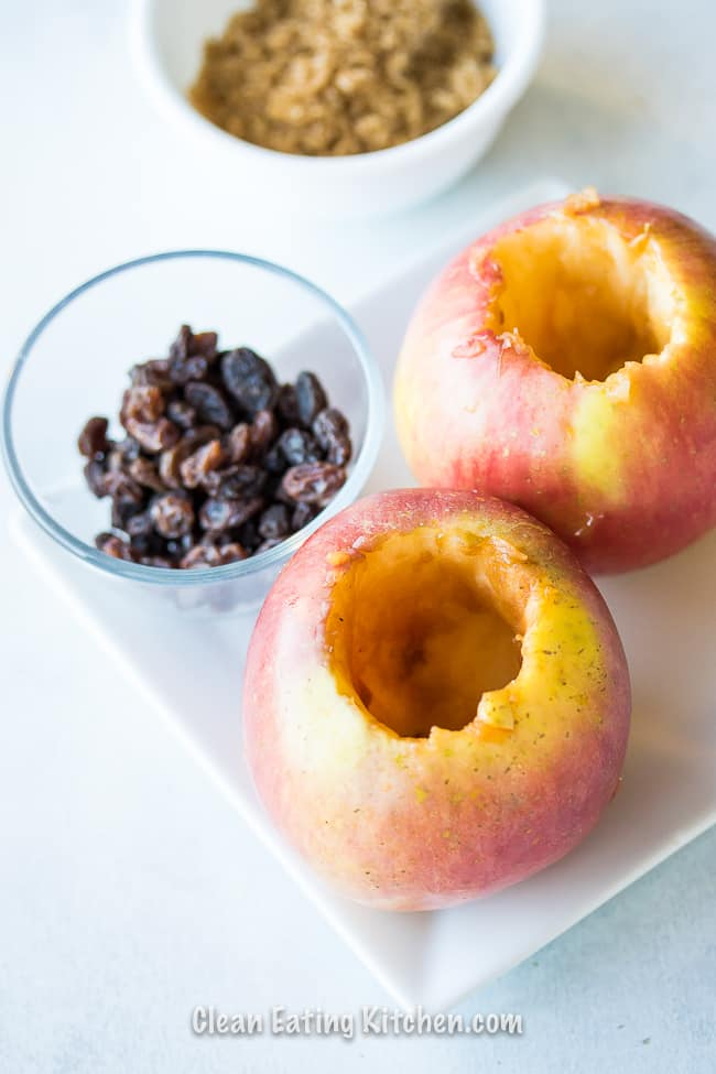 instant pot baked apple ingredients on a white plate