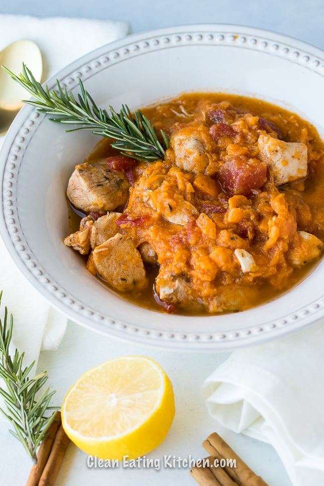 instant pot chicken sweet potato stew with rosemary and lemon and cinnamon