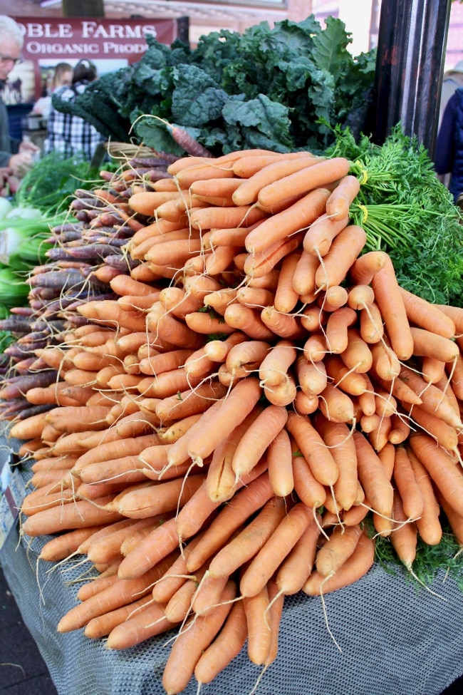pile of carrots at farmers market