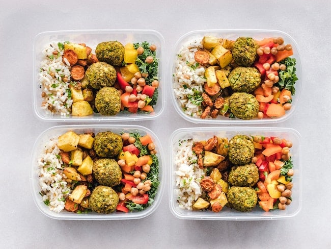 four meal prep meals
