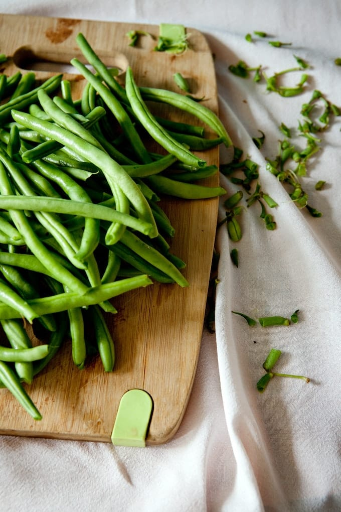 green beans ready to cook