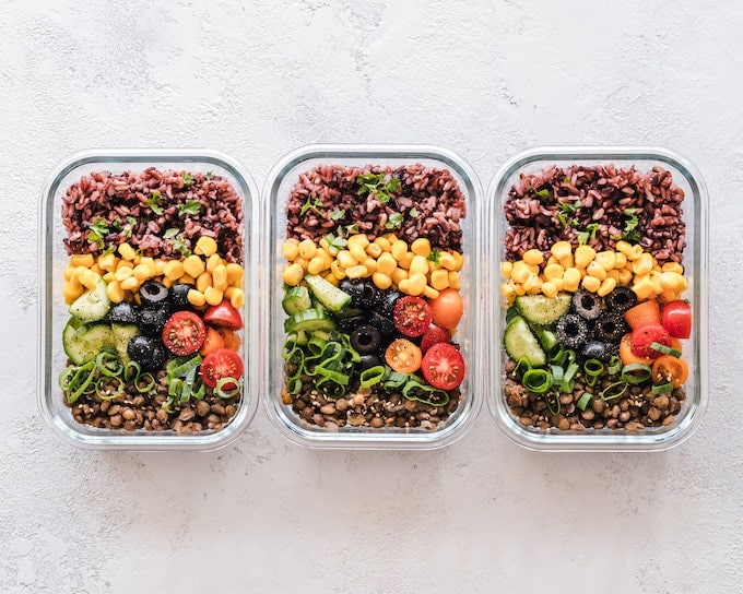 healthy meal prep meals in 3 containers