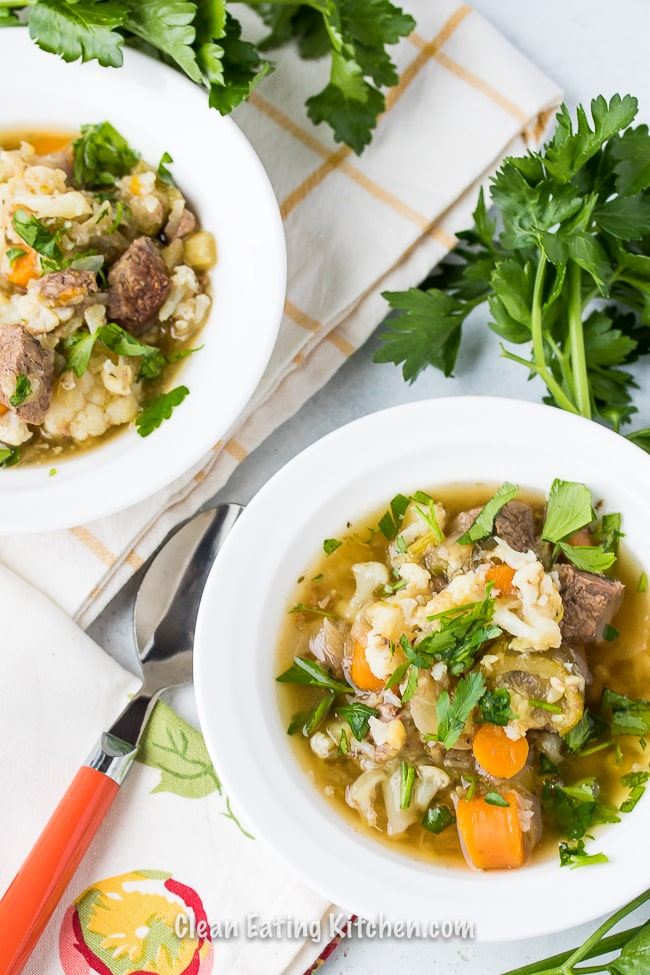 Two bowls of instant pot vegetable and beef stew