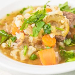 instant pot beef stew in a white bowl
