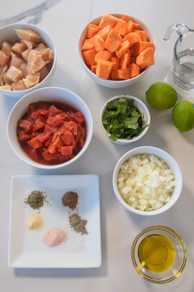 instant pot sweet potato and chicken dinner ingredients