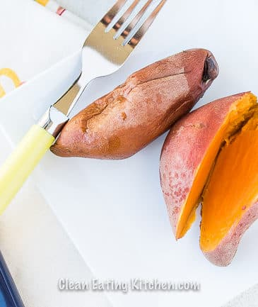instant pot sweet potatoes on white plate with fork