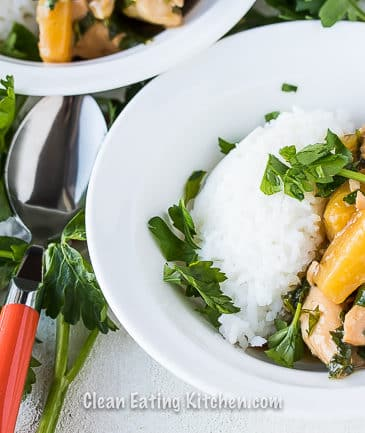 instant pot teriyaki chicken in white bowl