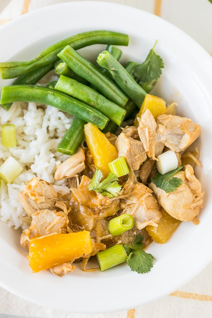 instant pot teriyaki chicken up close in a white bowl