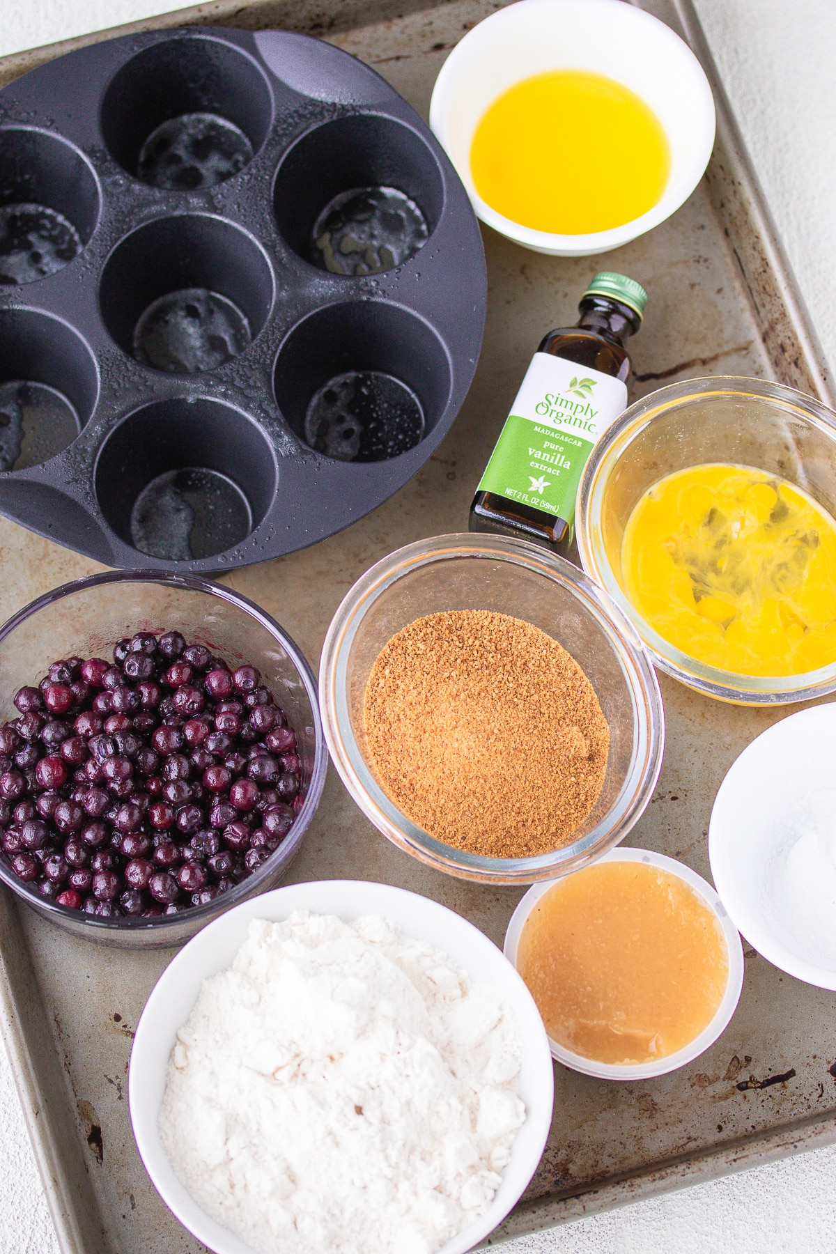 ingredients for air fryer blueberry muffins