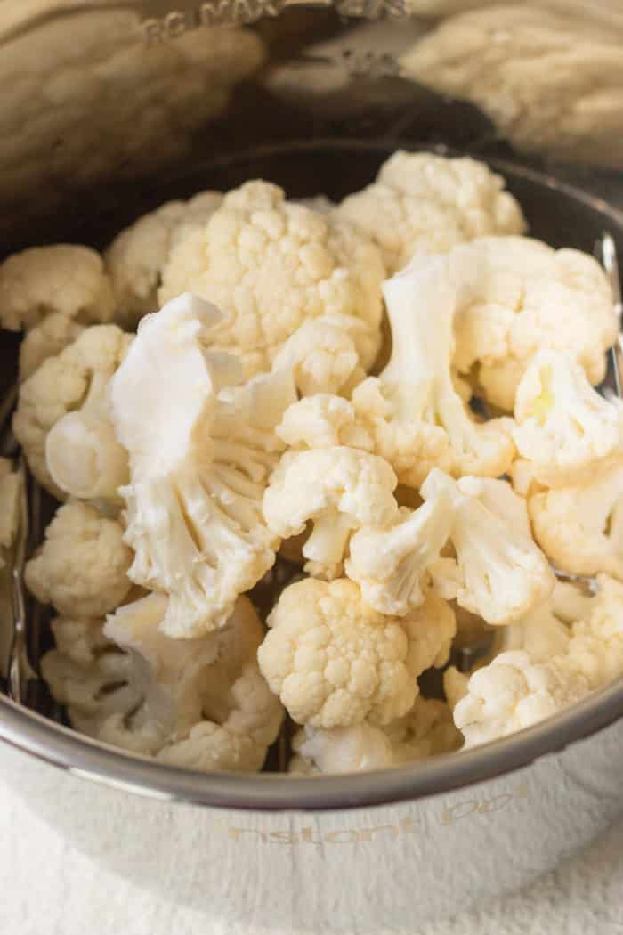 cauliflower florets in an Instant Pot pressure cooker