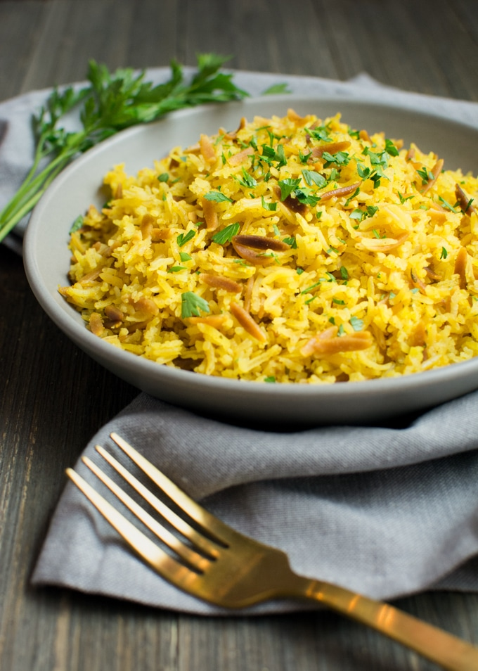 A plate of yellow rice