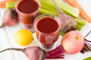 beet juice with fruits and veg