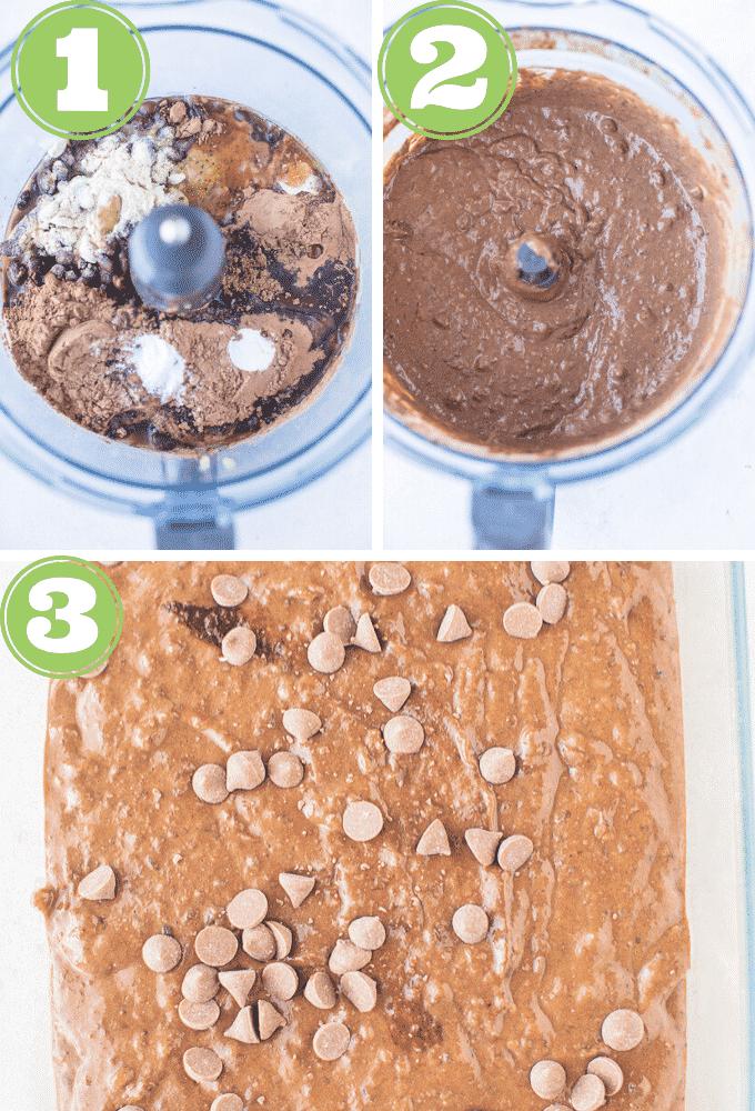black bean brownies process shots