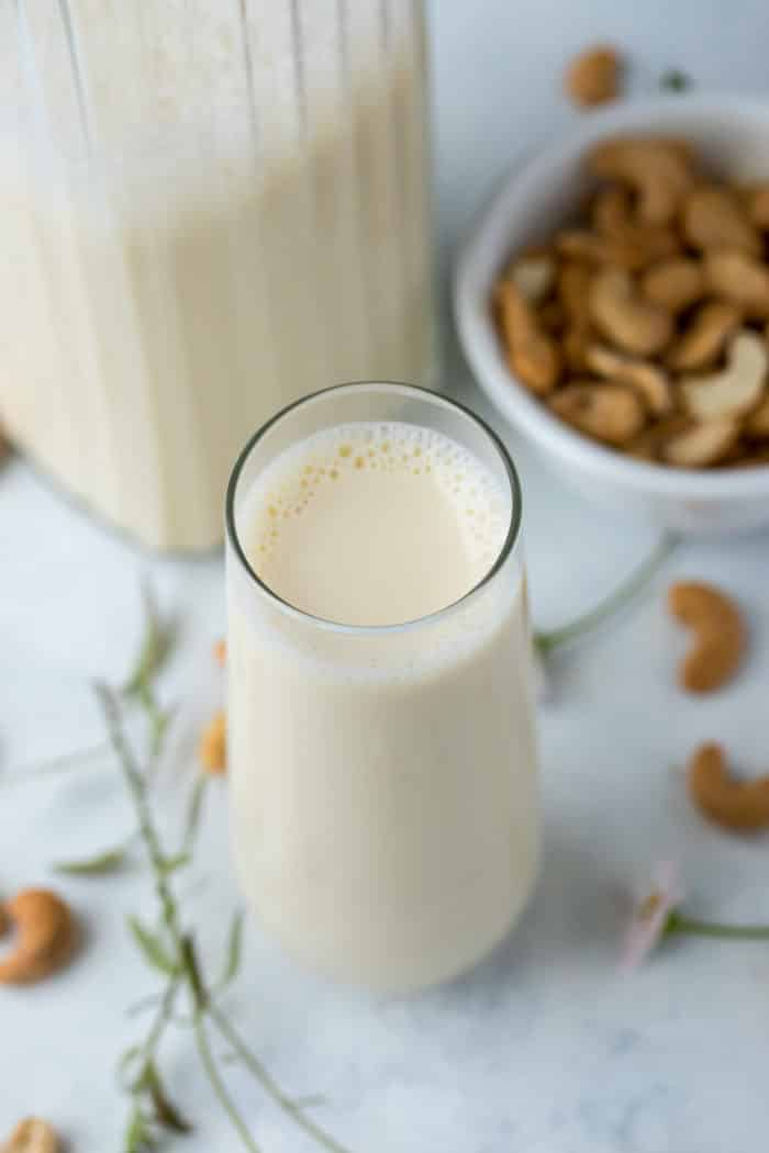 glass of homemade cashew milk
