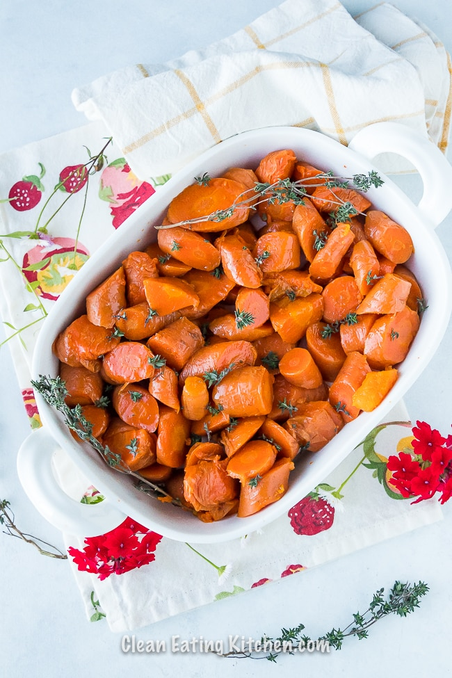 instant pot carrots in white serving dish with flowers