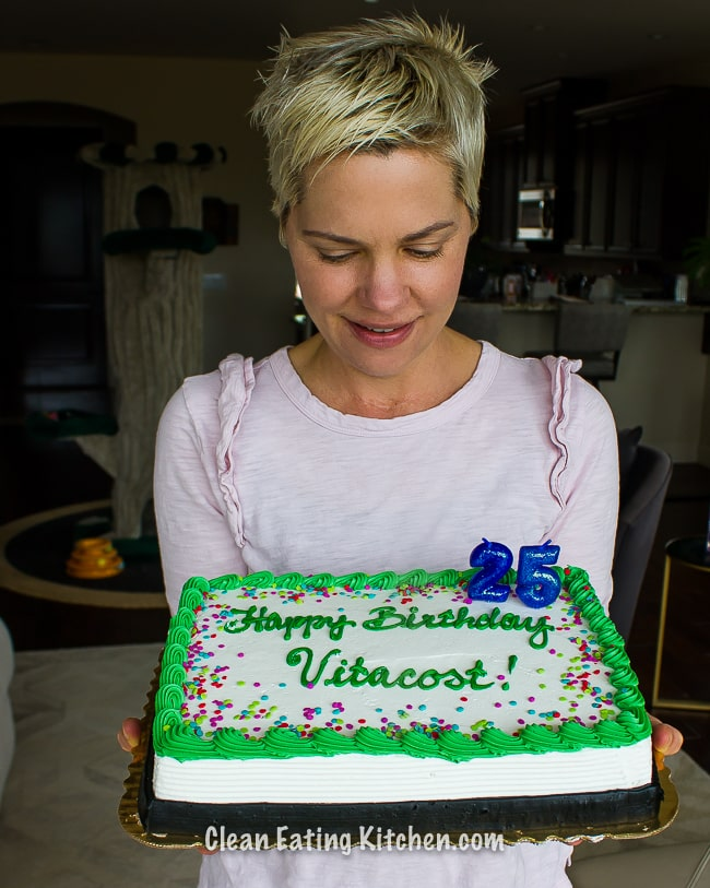 Carrie with vitacost birthday cake