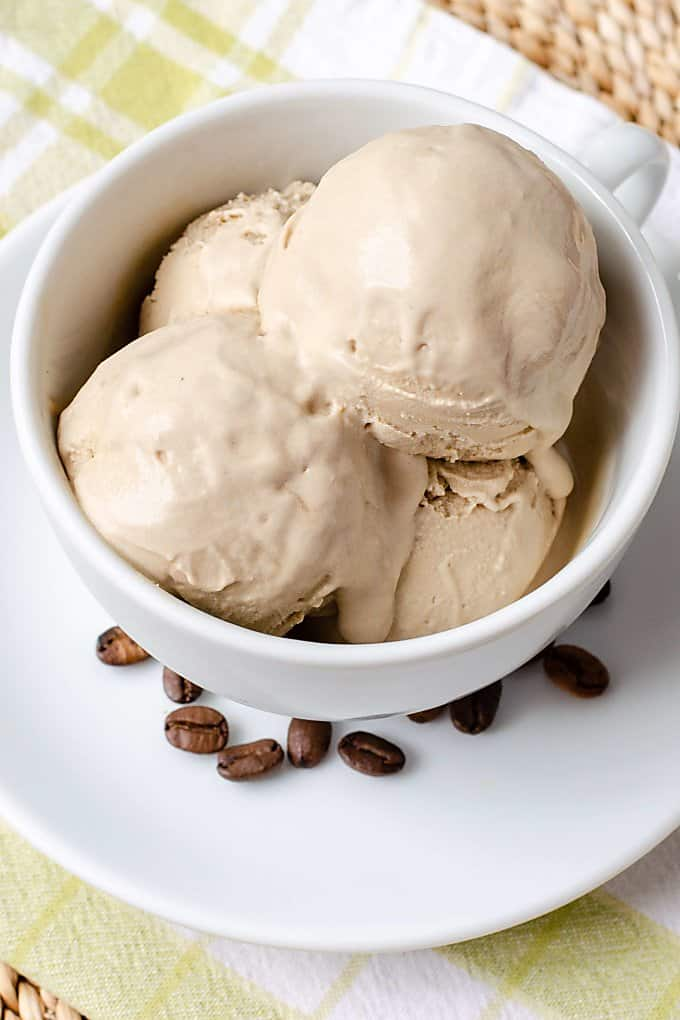 Vegan Coffee Ice Cream served in a coffee cup
