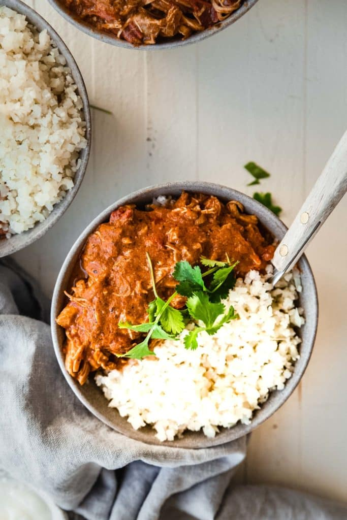Chicken tikka masala served with rice