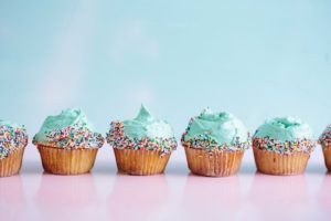 cupcakes with a blue background