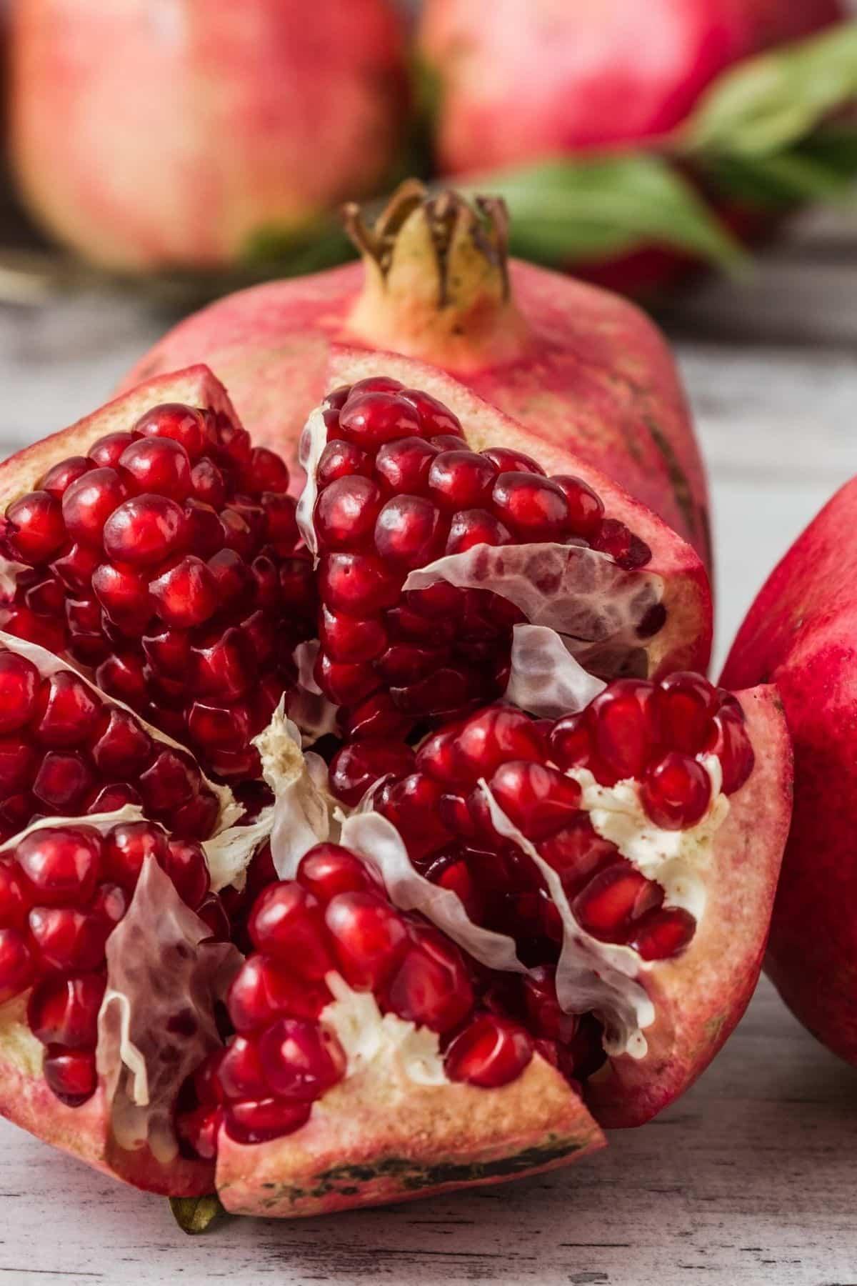 fresh pomegranate ready to be eaten