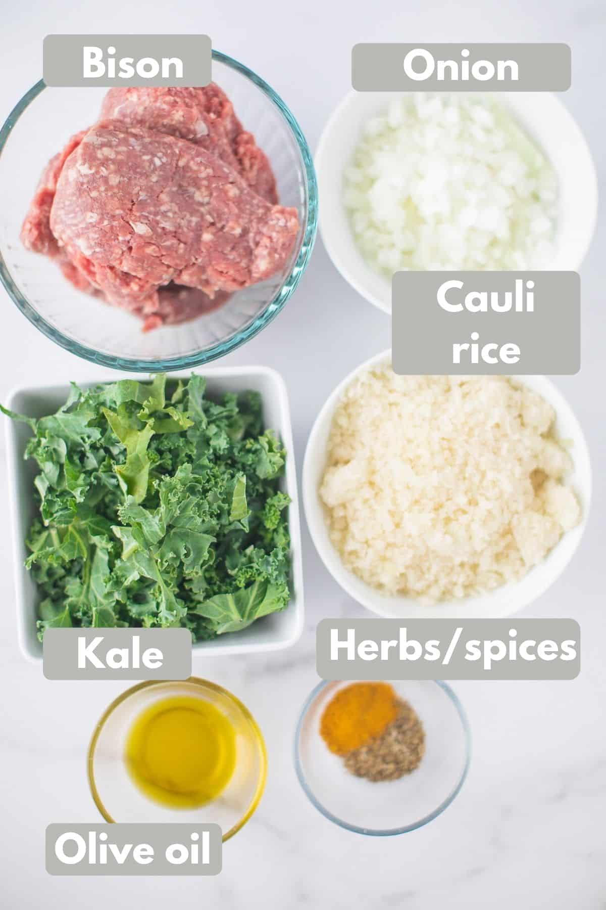 labeled photo of bison bowl recipe ingredients