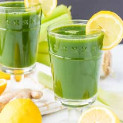 lemon and ginger green juice served in glasses
