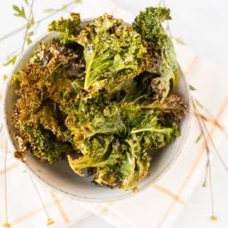 bowl of cooked kale chips