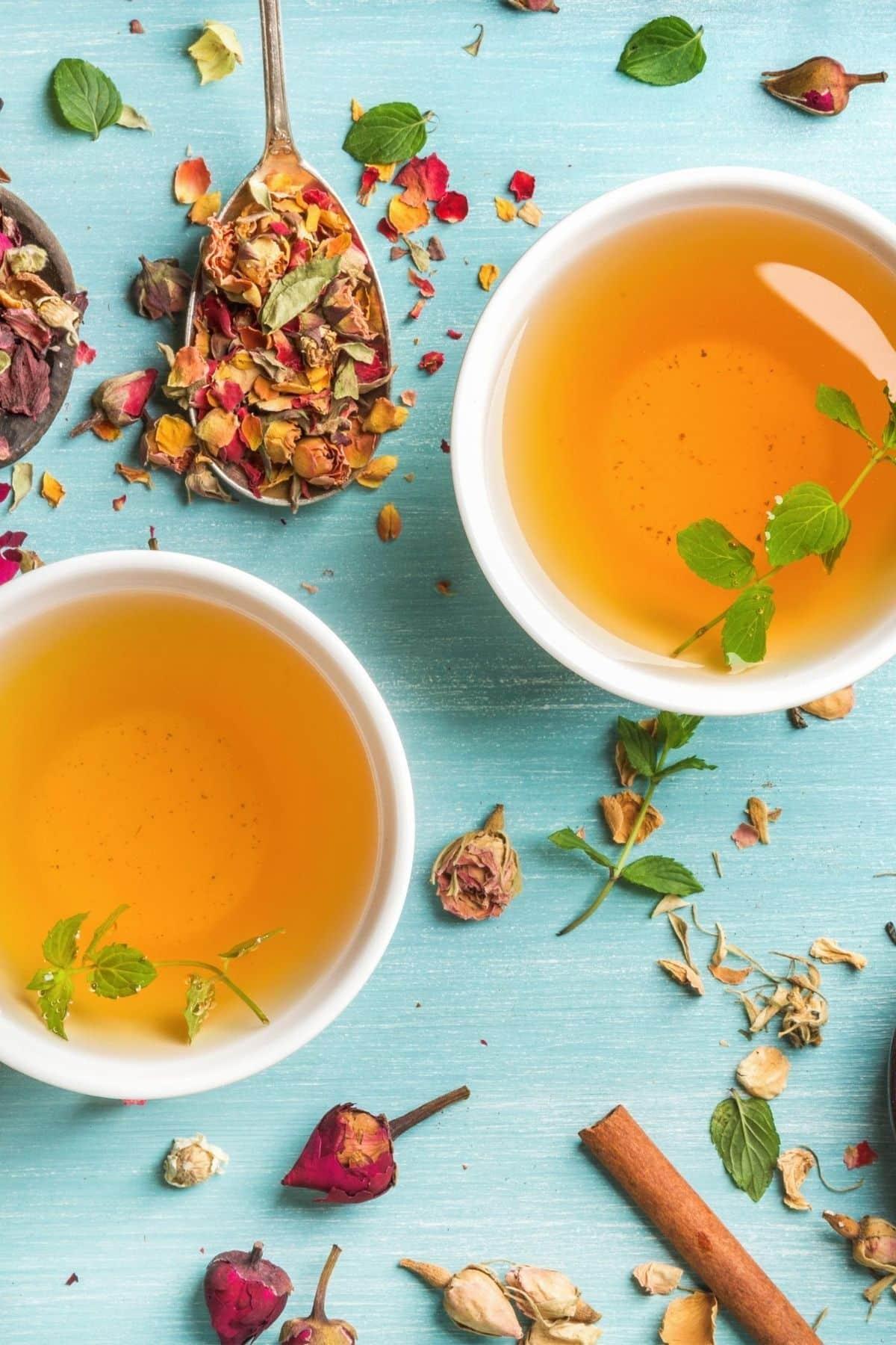 two mugs of herbal tea