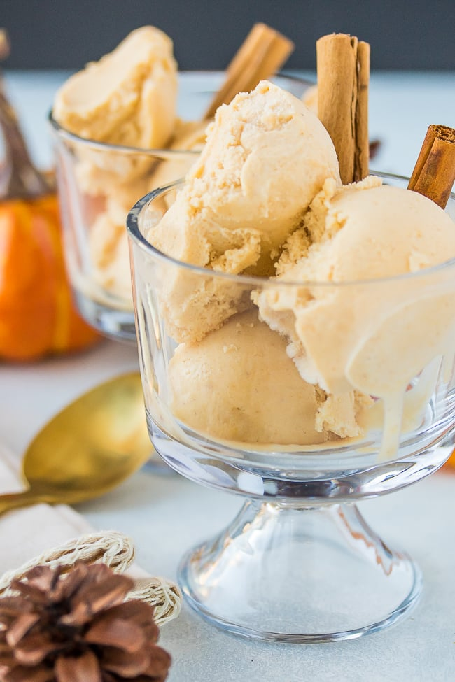 vegan pumpkin ice cream in glass parfaits