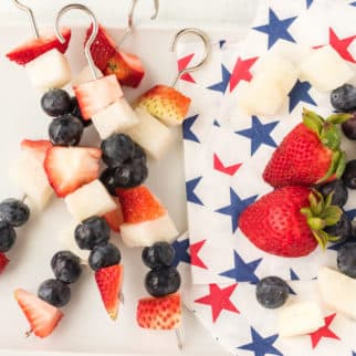 fruit kabobs served with patriotic napkins