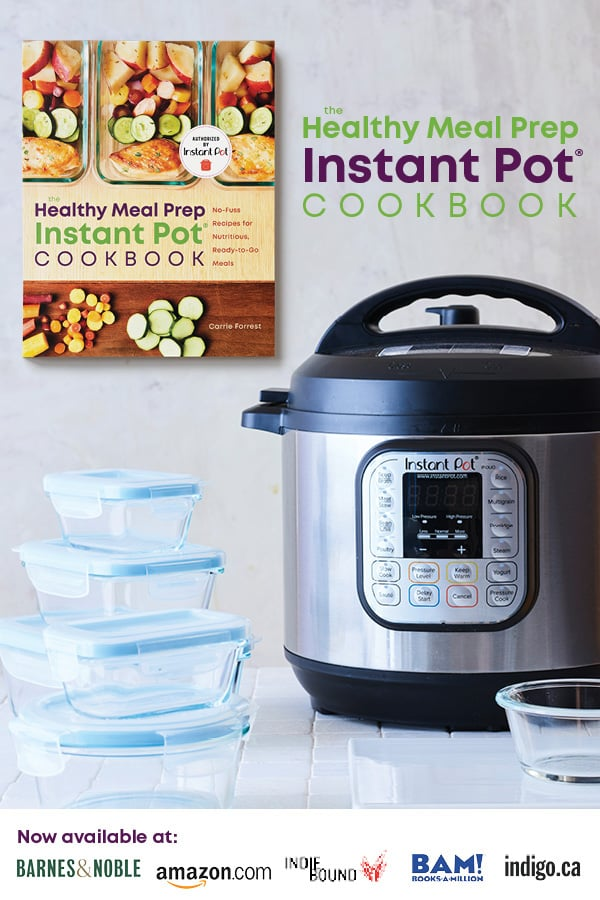 The Healthy Meal Prep Instant Pot Cookbook with meal prep containers and an Instant Pot