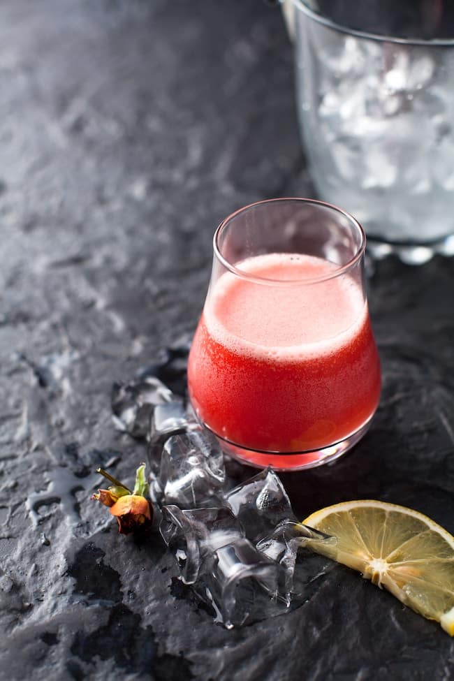 beet juice with ice in a glass