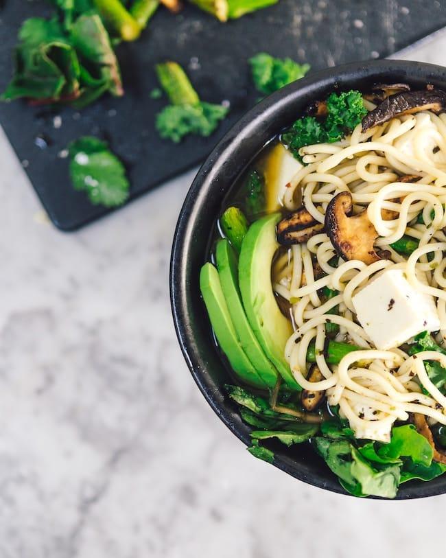 tofu veggie soup bowl