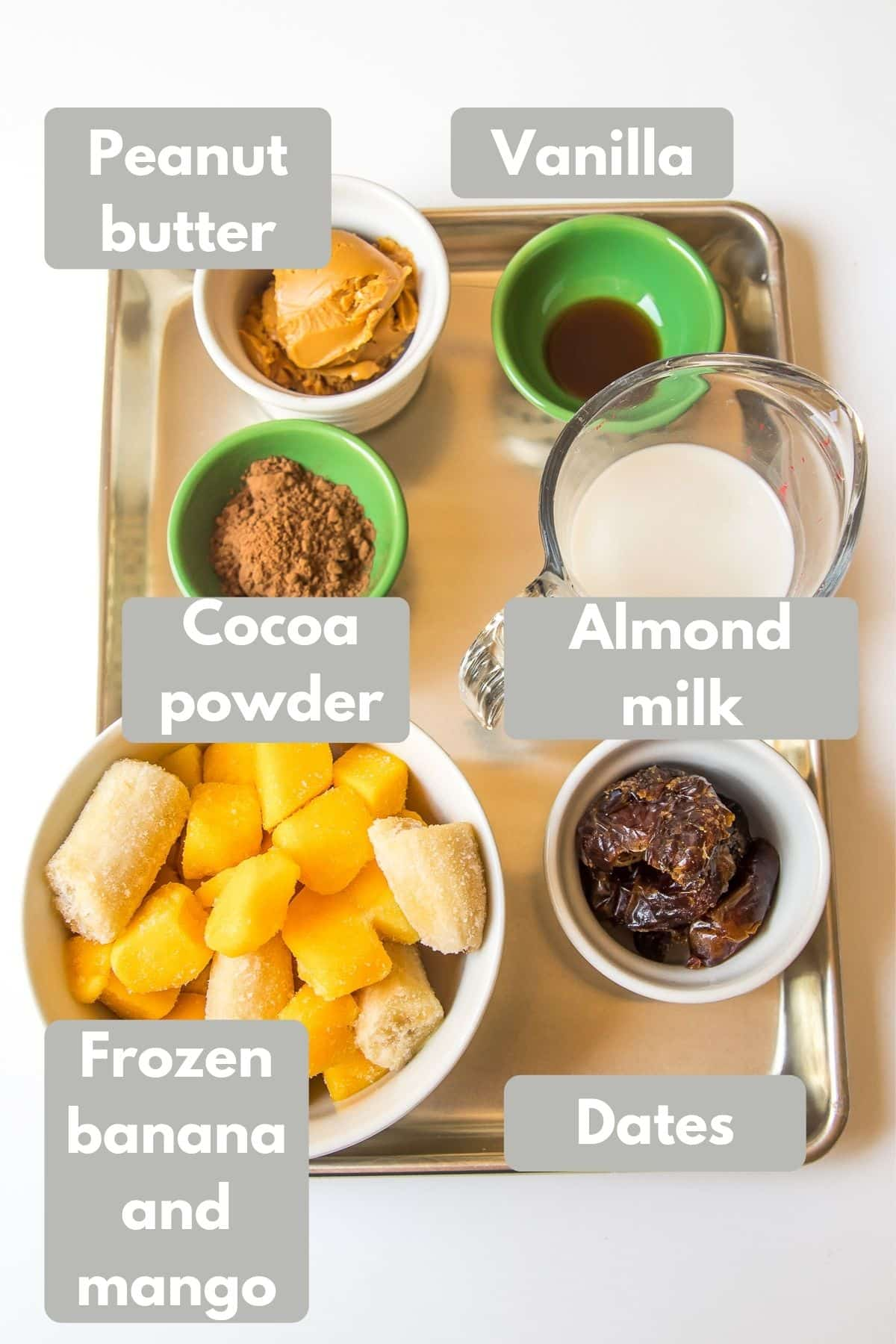 Ingredients for banana soft serve ice cream