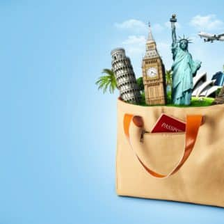 canvas bag with passport and travel icons